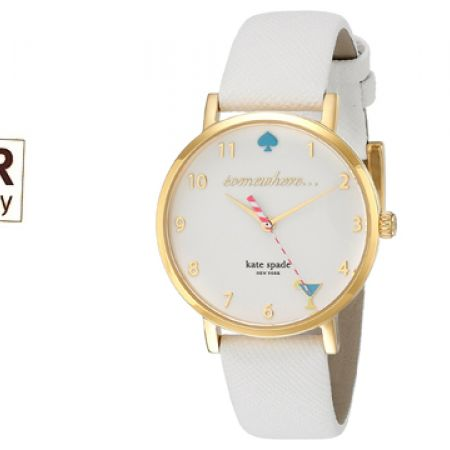Kate Spade Metro White Enamel Dial Leather Strap Round Watch For Women