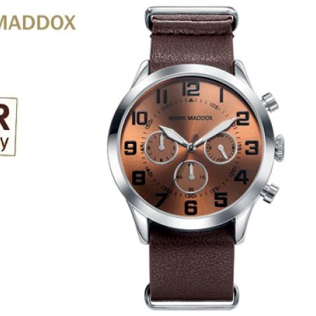 Mark Maddox MM HC0015-44 Leather Strap Round Watch For Men