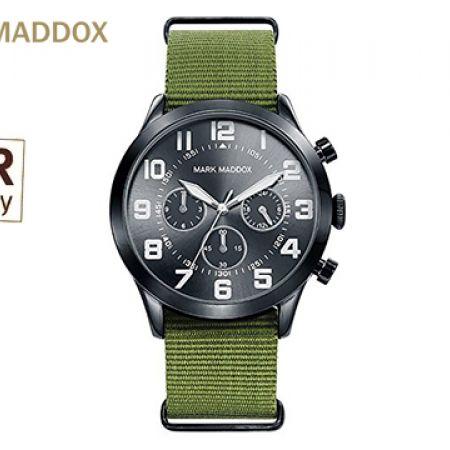 Mark Maddox MM HC0015-54 Green Textile Strap Round Watch For Men