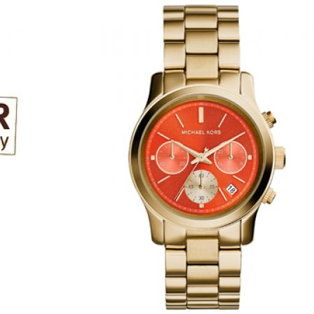 3ec5c4c4a6ac Michael Kors Runway Gold-Tone Strap Orange Dial Round Watch For Women -  Makhsoom