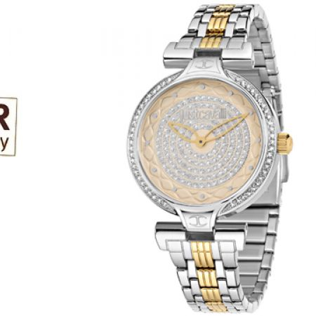 Just Cavalli Only Time Silver & Gold Round Watch For Women