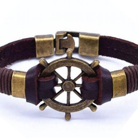 Leather Stainless Steel & Copper Alloy Brown Jack Steering Wheel Bracelet For Men