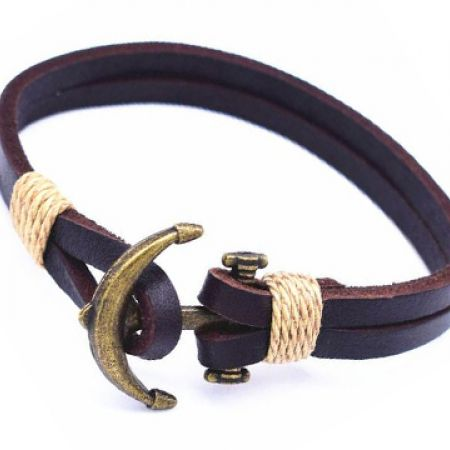Leather Stainless Steel & Copper Alloy Brown Copper James Anchor Bracelet For Men