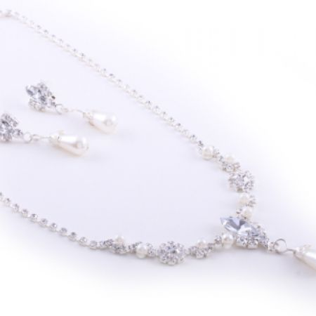 Set Of Beatrix Silver Plated Romantic Cubic Zircona & Pearl Necklace & Earrings For Women