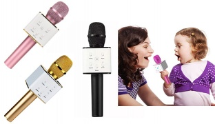 Wireless Bluetooth Handheld Karaoke Microphone With Speaker For Smartphone - Black/White