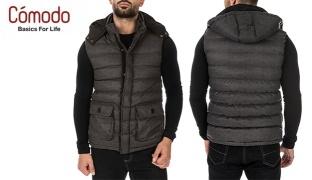 Comodo David Charcoal Vest With Detachable Hood - Small