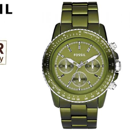 Fossil End of Season Chronograph Green Dial Round Watch For Women