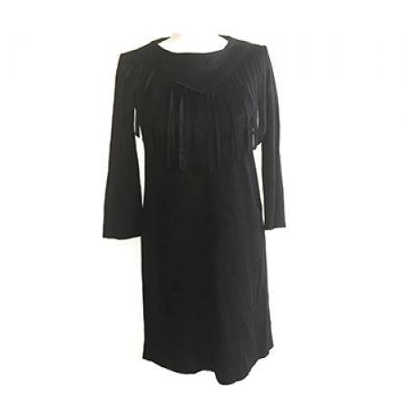 Fringe Black Dress For Women Size: S/M