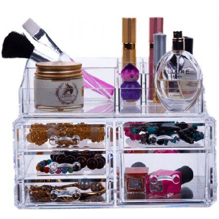 Design Acrylic Jewelry and Cosmetic Storage Display 5 Drawers Box Set
