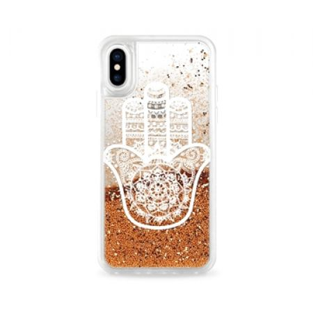 Casetify Gold Liquid Glitter White Hamsa Hand Phone Case For iPhone X