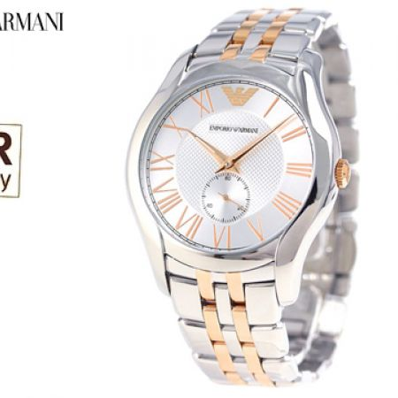 Emporio Armani Quartz Chronograph Silver Dial Stainless Steel Round Watch For Men