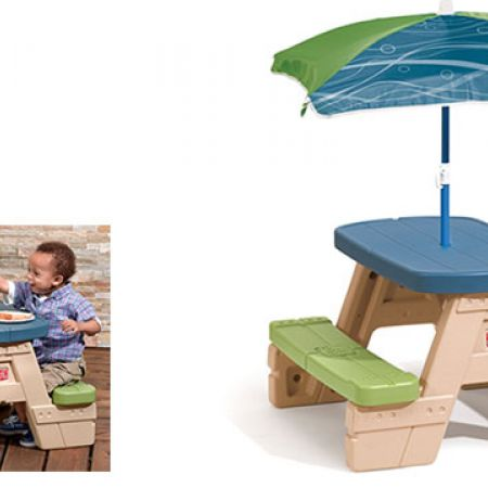 Step2 sit play picnic table with umbrella makhsoom watchthetrailerfo
