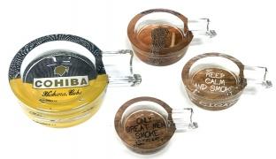 Mini Single Crystal Glass Cigar Ashtray - Keep Calm And Smoke A Cigar
