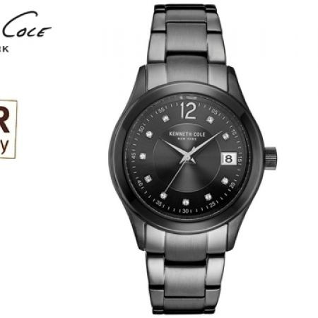 Kenneth Cole Crystallized Black Steel Round Watch For Women