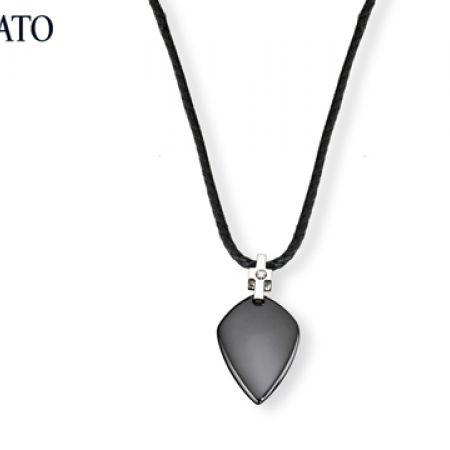 Morellato Noir In Steel Ceramic Diamonds Necklace For Men