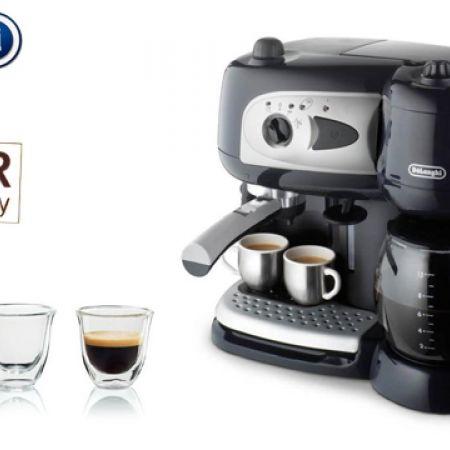 Delonghi BCO 261 Black Espresso Coffee Maker + Free Set Of 2 Delonghi Espresso Thermo Glasses
