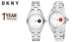 DKNY Silver & White Jitney Stainless Steel Round Watch For Women - With Black Date