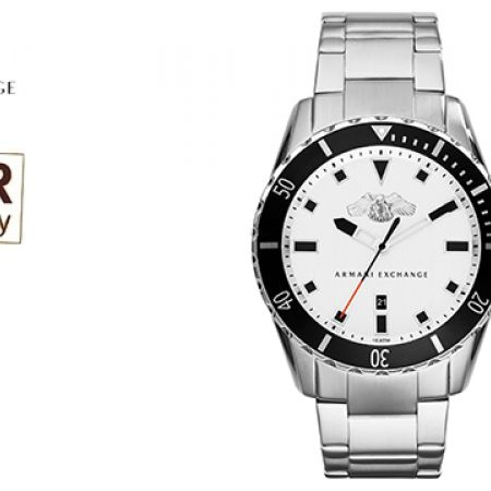 Armani Exchange White Dial Stainelss Steel Round Watch For Men