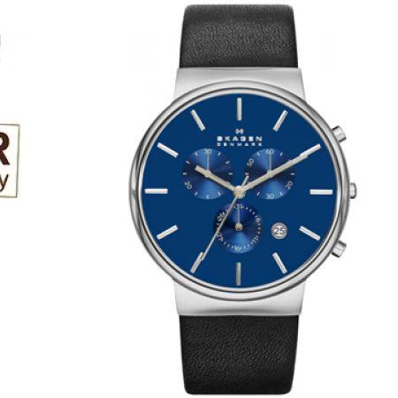 7523ea2723da Skagen Ancher Chronograph Blue Dial Black Leather Round Watch For Men -  Makhsoom
