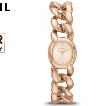 Fossil Quartz Rose Gold Tone Chain Stainless Steel Round Watch For Women