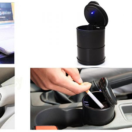 Universal Portable Car LED Cigarette Ashtray With Lid