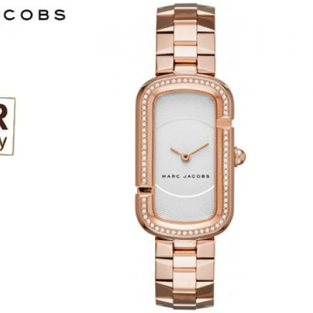 Marc Jacobs The Jacobs White Satin Dial Rose Gold Tone Square Watch For Women