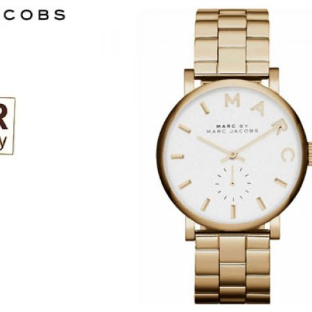 Marc Jacobs White Dial Gold-tone Round Watch For Women