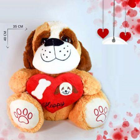Valentine Stuffed Ultra-Plush Happy Love Dog 40 x 35 cm