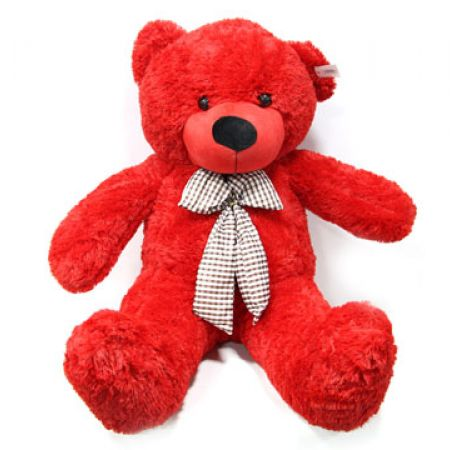 Valentine Stuffed Red Ultra-Plush Teddy Bear With Patterned Bow 95 cm