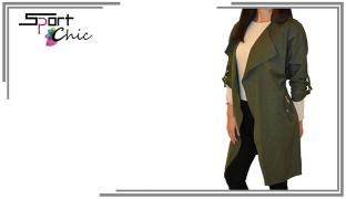 Sport Chic Olive Green Tie-Sleeve Long Jacket For Women - Size: 38