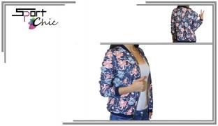 Sport Chic Dark Blue & Pink Floral Pullover For Women - Size: Medium