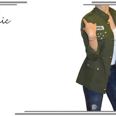 Sport Chic Olive Green Cardigan With Pearls & Badges For Women Size: M/L