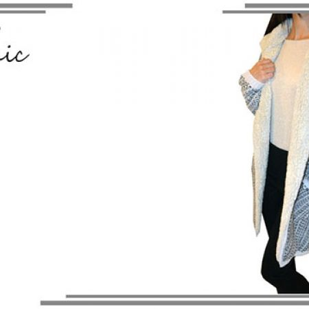 Sport Chic Grey & Black Wool Long Jacket For Women Size: Medium