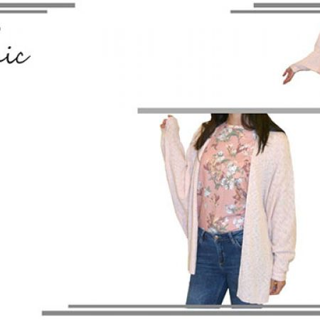Sport Chic Floral Patterns Pink Sweater For Women Size: Medium