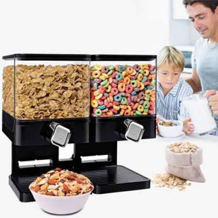 Double Plastic Black Compact Dry Food Dispenser