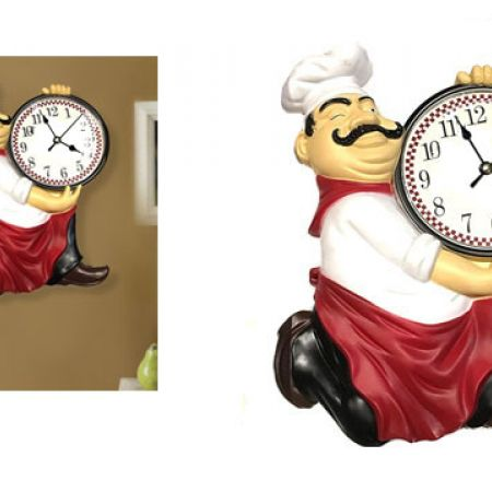 Stupendous Fat Sitting Chef Kitchen Wall Clock Home Interior And Landscaping Transignezvosmurscom