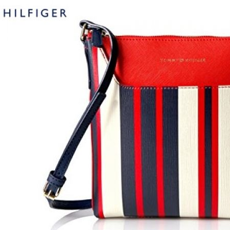 26c259a8b77 Tommy Hilfiger Adamaria Painted Stripes Red White & Navy Blue Crossbody Bag  For Women