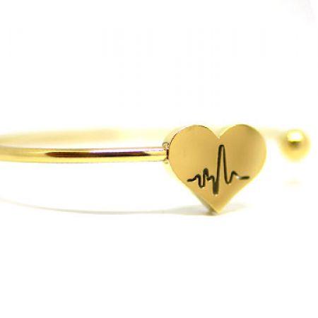 Stainless Steel Gold Melody Heartbeat Bracelet For Women