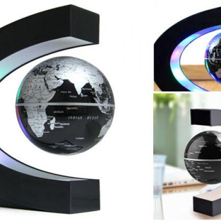 Anti Gravity C-Shape Magnetic Worls Map Floating Globe With LED Light