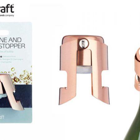 KitchenCraft BarCraft Luxury Metal Sparkling Copper Finish Champagne & Wine Stopper