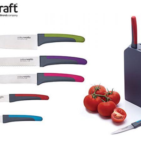 KitchenCraft Set Of Colourworks Knife Set With Simple Storage Block 6 Pcs