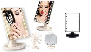 Rotatable & Portable Touch Screen Illuminated Led Mirror - White
