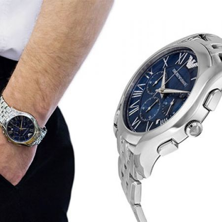 Emporio Armani Classic Navy Blue Dial Stainless Steel Round Watch For Men 96d2c5a2ce7c7