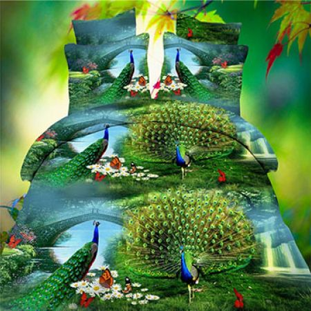 Set Of 4 Pcs 3D Peacock Bedding Set 1 Pc Bed Duvet Cover 1 Pc Bed Sheet and 2 Pcs Pillowcases