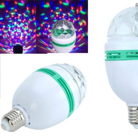 360 Degree Rotating LED Crystal Disco Bulb Light