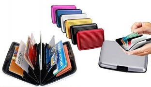 Small Durable Aluminium Security Credit Card Wallet 11 x 7 cm - Black