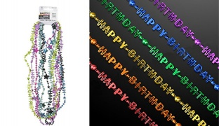 Set Of Colorful Happy Birthday Party Bead Necklace 12 Pcs