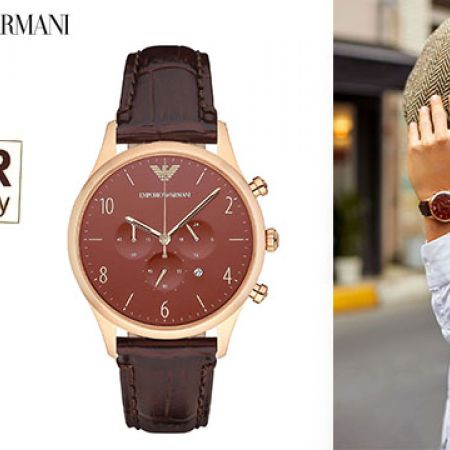 Emporio Armani Classic Chronograph Burgundy Dial Round Watch For Men