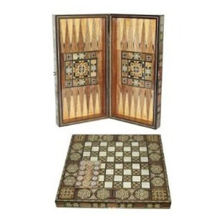 Portable Folding Wooden Backgammon Set
