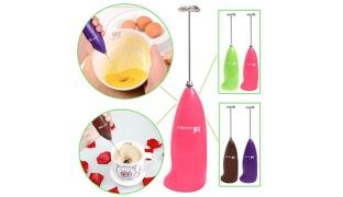 Electric Handheld Milk & Coffee Frother Foam Maker - Brown